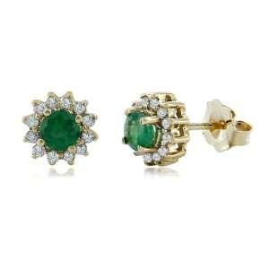 Effy Jewelers Effy® 14K Yellow Gold Emerald Diamond Earrings 0.72 Tcw