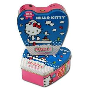 Puzzle in Heart Shaped Tin Box and Hello Kitty Toothbrush Set Toys