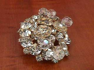 Vtg KRAMER Rhinestones Crystal Bead Dangles BROOCH Pin