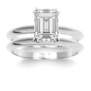 1.00 Total Carat Emerald Cut Diamond Solitaire Bridal Set