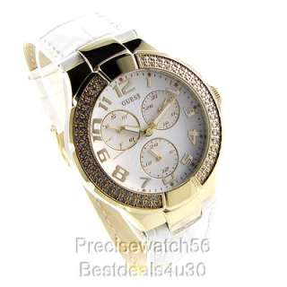 NEW GUESS WOMENS WATCH WHITE LEATHER BRACELET GOLD SWAROVSKI CRYSTALS