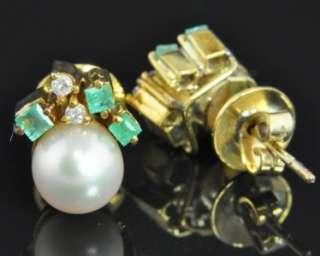 14K Gold Akoya Pearl Natural Emerald Diamond Stud Post Earrings |