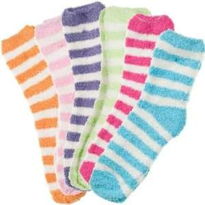 6 Pack of Fluffy Cozy Fuzzy Socks   Wide Stripe $39.99