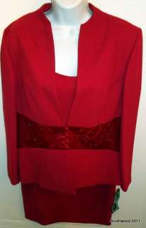 POSITIVE ATTITUDE RED 3 PIECE LINED SUIT SIZE 14