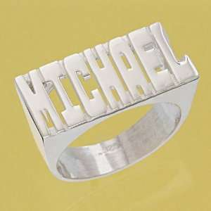 Personalized Sterling Silver Large Block Letter Name Ring