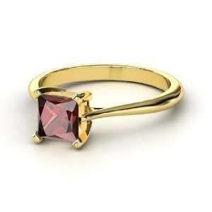 Princess Solitaire, Princess Red Garnet 14K Yellow Gold Ring Jewelry