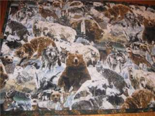 Handcrafted table Runner Bear Deer lodge wildlife wolf