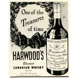 1945 Ad R C Williams Harwoods Blended Canadian Whisky