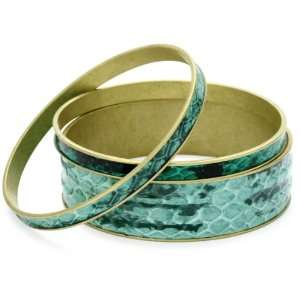 Helene Jewelry 3 Green Genuine Snake Skin Bangle Bracelet