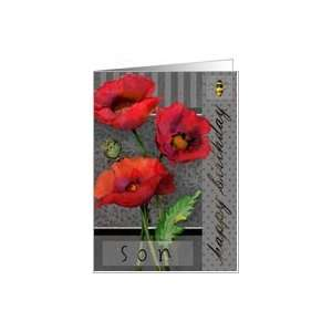 Happy Birthday, SonCheerful Red Poppies Card: Toys & Games