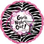 Girls Night Out Zebra Print with Pink 18 Mylar Foil Balloon