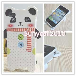 black Cute PANDA Soft TPU Back Case Cover skin for iPhone 4 4G