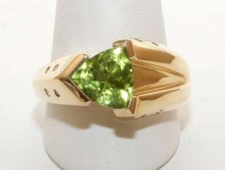 Estate 14K Solid Gold 1.54ct Trillion Peridot & Diamond Womans Ring