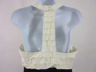 NWT TIBI Blk Ivory Ruffled Button Front Halter Dress 6
