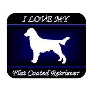 I Love My Flat Coated Retriever Dog Mouse Pad   Blue