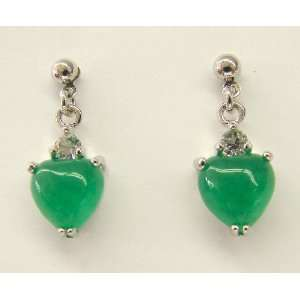 Fashion Jewelry ~ Heart Shape Chinese Jade Decorated with