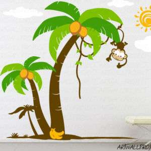 Nursery Wall Decal   Palm Trees with Cute Monkey