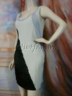 1490 New NINA RICCI Pale Gray Lavender Black Stretchy Cotton Tank