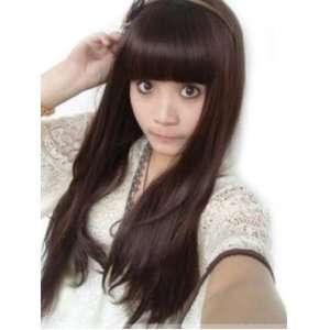 pro 25 Natural black long DARK BROWN straight lady hair wig full wigs