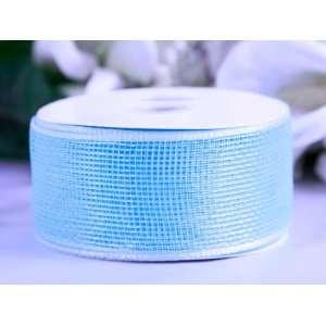 Floral Mesh Ribbon 4 Inch x 25 Yards, Light Blue Health