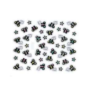 Black Butterfly & Flower Embellished Nail Stickers/Decals Beauty