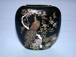 Beautiful Japanese ASAHI Peacocks Birds Oval Vase