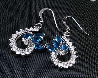 Xmas Fashion Jewelry 2cm Blue Sapphire White Gold GP Dangle Drop