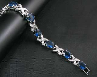 Fashion Jewelry Xmas Gift Blue Sapphire White Gold GP Bracelet Hand