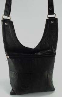 Sling Messenger Leather Travel Purse Black Cross Body Bag B1