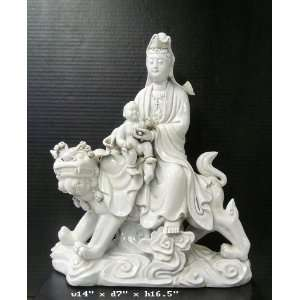 Chinese White Porcelain Kwan Yin Kid Riding Fu Dog Statue
