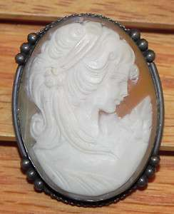 Hand Carved Shell Cameo 800 Silver Brooch Pin Pendant Italy Victorian