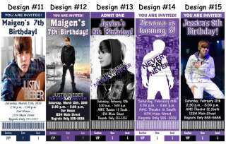 Justin Bieber ~ Birthday Party Ticket Invitations, Supplies, and