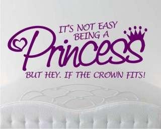 WALL STICKER ART QUOTE Princess Crown Girls Bedroom