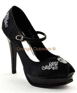 PINUP Satin Skull Embroidered Mary Janes High Heels 885487528182