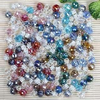 100P *Wholesale* Crystal Dangle Charm Bead Fit Bracelet