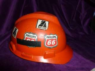 Original Vintage 1960s Phillips 66 Gasoline Oil Field Hard Hat Orange