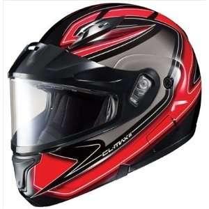 HJC Cl Max II Zader Snowmobile Dual Lens Shield Helmet Black Red White