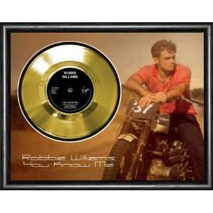 Robbie Williams You Know Me Framed Gold Record A3