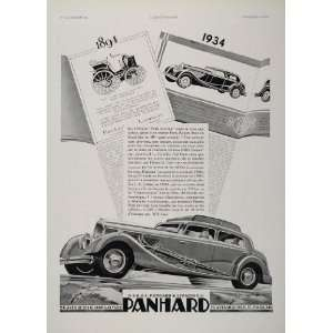 1934 French Ad Panhard 1894 Paris Rouen Race Art Deco   Original Print