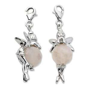 Sterling Silver Click on Polished Fairy W/ Moveable Rose Quartz Stone