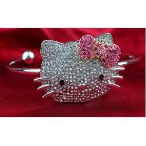 NEW Celebrity Style HUGE Hello Kitty Crystal bangle bracelet w/pink