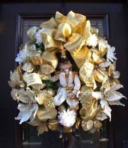 Christmas Wreath Gold Ivory Nutcracker Soldier Luxe Door Decoration