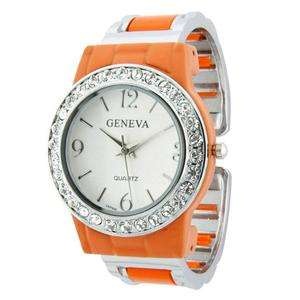 Geneva Quartz Classic Round Face Watch w/ Crystal Accents Orange