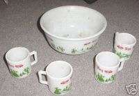 Vintage AH White Milk Glass EGG NOG Bowl with 4 Cups