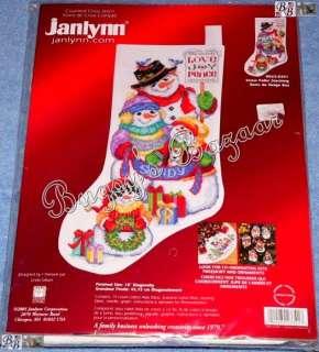 Snowmen Counted Cross Stitch Christmas Stocking Kit  L Gillum