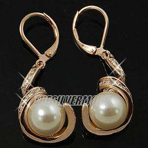 18K Rose Gold Plated White Pearl Swirl Earring 11455