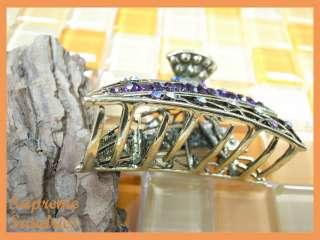 Glinted Purple Crystal Alligator Jaw Hair Clip Claw 676
