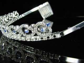 A46 11 Blue Wedding Bridal Party Prom Heart Swarovski Crystal