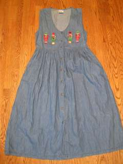 Way To Go Christmas Jean Dress ~ Blue ~ Sleeveless ~ Long ~ Toy