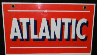 1950s Atlantic Diesel Fuel Pump Plate Porcelain Sign